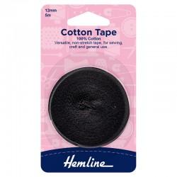 12mm Black Cotton Tape: 5m...